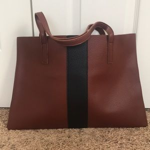 Brown and black tote